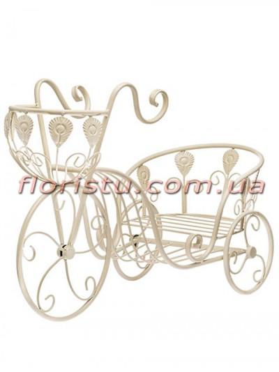 Велосипед-карета для цветов металлический Беж 50 см