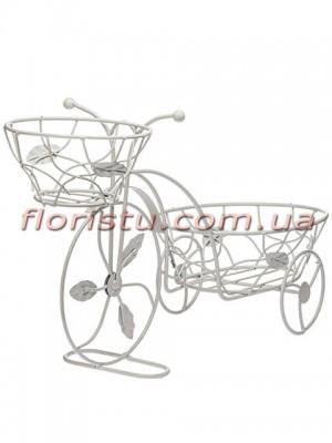 Велосипед-кашпо с 2-мя корзинами для цветов металлический Белый 44 см