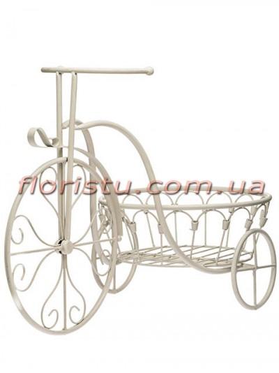 Велосипед-кашпо с корзиной для цветов металлический Беж 60 см