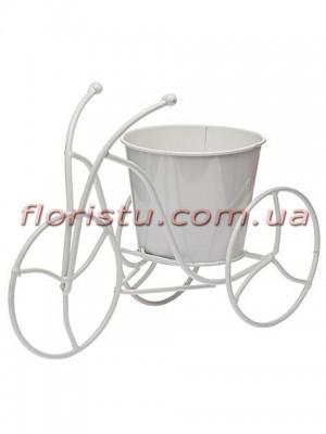 Велосипед-кашпо для цветов металлический Белый 32 см