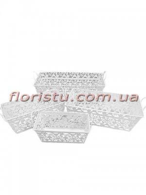 Кашпо металлические ажурные Белые набор 4 шт.