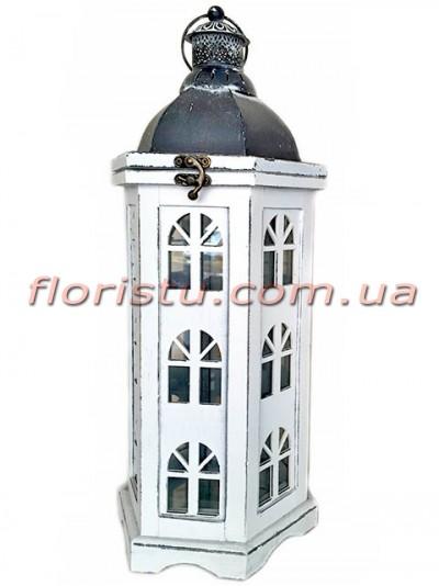 Фонарь для декора премиум класса дерево+металл HOME 48 см