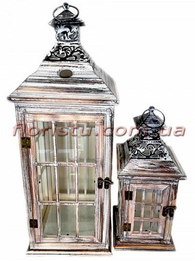 Набор фонарей для декора премиум класса дерево+металл Шебби Шик 54 см 34 см
