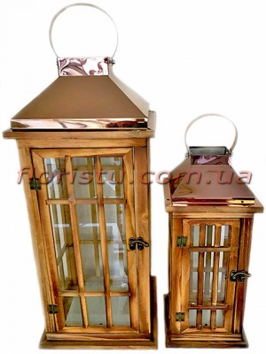 Набор фонарей для декора премиум класса дерево+металл Сomfort 59 см 41 см