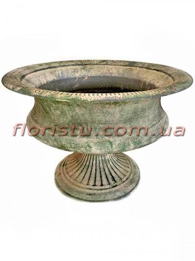 Кашпо металлическое Кубок античный №3 зеленый 30 см