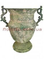 Кашпо металлическое Амфора зеленый 28 см
