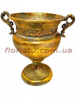 Кашпо металлическое Амфора Золото 25 см