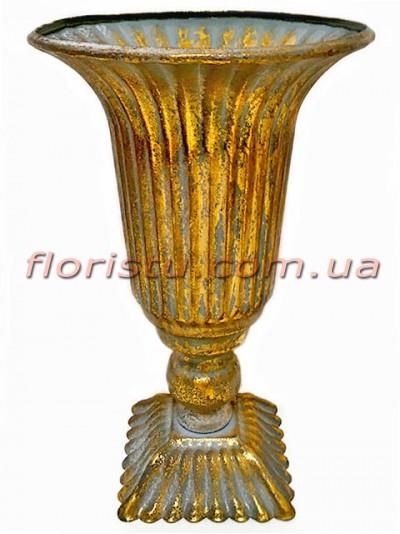 Кашпо металлическое Кубок античный Золото 24 см