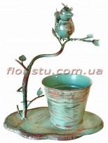 Кашпо металлическое с птичкой Винтаж 30 см