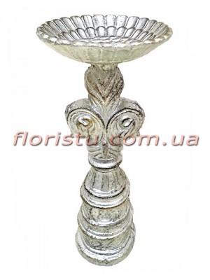 Декоративный металлический подсвечник Винтаж под серебро 21 см
