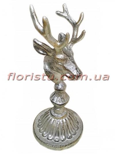 Декоративная металлическая статуэтка Олень под серебро 22,5 см
