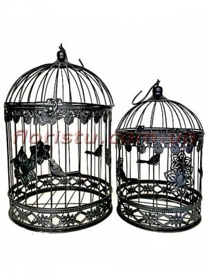 Клетки металлические для декора Винтаж черные набор 40 см и 35 см