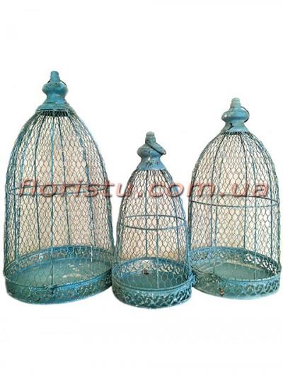 Клетки металлические для декора Винтаж бирюза набор 57 см, 49 см и 40 см