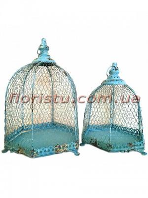 Клетки металлические для декора Винтаж бирюза набор 47 см и 38 см