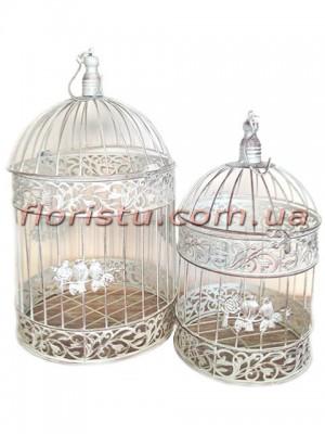 Клетки металлические для декора Винтаж белые круглые набор 40 см и 35 см