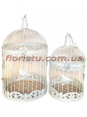 Клетки металлические для декора Винтаж с птичкой белые круглые набор 40 см и 35 см