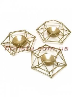 Коллекция Золото Набор металлических подсвечников 21 см, 19 см и 17 см