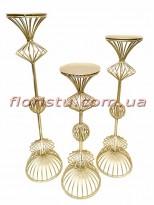 Коллекция Золото набор металлических подсвечников 59 см, 49 см и 42 см