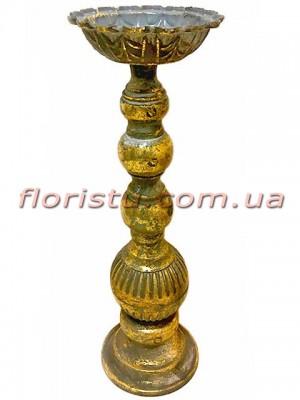 Декоративный металлический подсвечник Фонтан золото 34 см