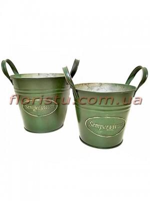 Ведра металлические набор Sempervivum зеленые 16 см и 14 см