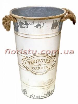 Кашпо-ведро металлическое винтажное Flowers&Garden 37 см