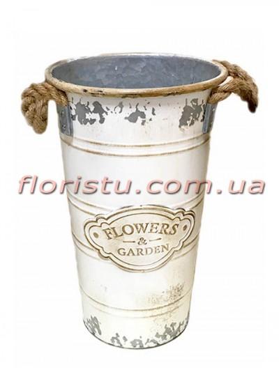 Кашпо-ведро металлическое винтажное Flowers&Garden 31 см