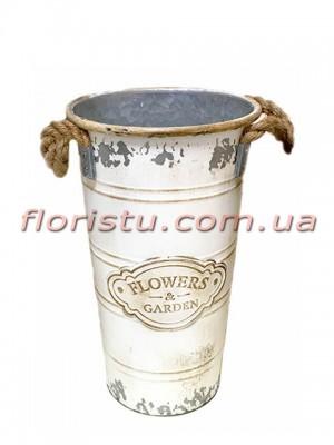 Кашпо-ведро металлическое винтажное Flowers&Garden 26 см