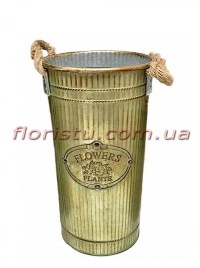 Кашпо-ведро металлическое Flowers Plants 30 см
