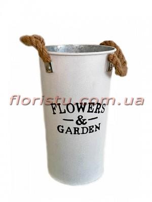 Кашпо-ведро металлическое Flowers&Garden 25 см