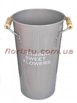 Кашпо-ведро металлическое ORIGINAL SWEET FLOWERS серое 38 см