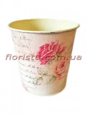 Кашпо металлическое Шебби шик Розы 10 см