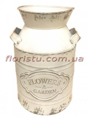 Бидон металлический Белый FLOWERS 24 см
