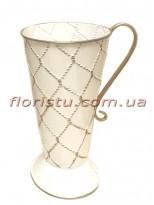 Кувшин металлический Белый с золотом 30 см