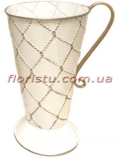 Кувшин металлический Белый с золотом 39 см