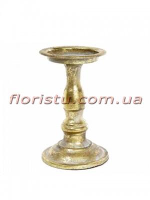 Декоративный металлический подсвечник под золото 19,5 см
