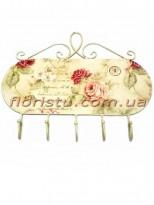 Вешалка металлическая Прованс Розы 5 крючков 36 см