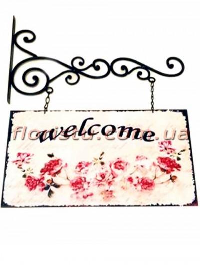 Табличка WELCOME металлическая двусторонняя Светло-розовая 35 см