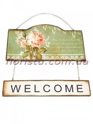 Табличка WELCOME металлическая Прованс Розы зеленая 23 см
