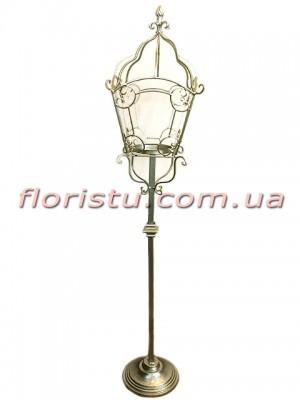 Коллекция Золото металлический подсвечник-стойка Фонарь 125 см