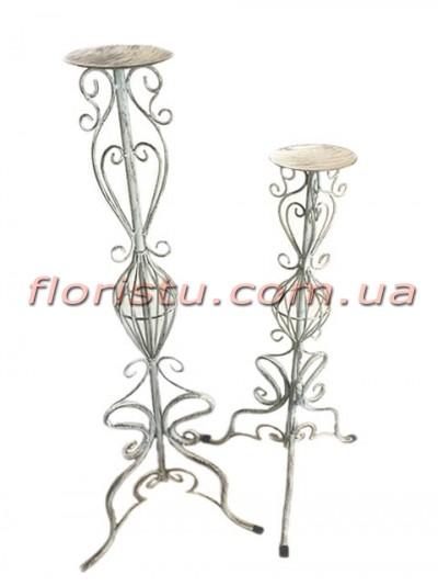 Набор металлических подсвечников стоек Винтаж 92 см и 76 см