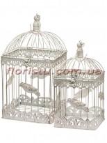 Клетки металлические для декора Винтаж квадрат беж набор 2 шт.