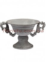 Кашпо металлическое Кубок античный с ручками Серый 16 см