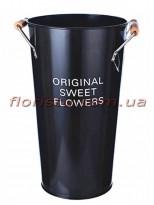 Кашпо-ведро металлическое ORIGINAL SWEET FLOWERS черное 38 см