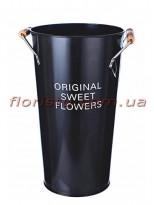 Кашпо-ведро металлическое ORIGINAL SWEET FLOWERS черное 30 см