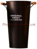 Кашпо-ведро металлическое ORIGINAL SWEET FLOWERS коричневое 45 см