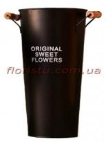 Кашпо-ведро металлическое ORIGINAL SWEET FLOWERS коричневое 38 см