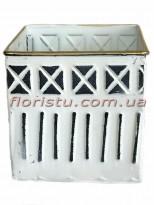 Кашпо металлическое с орнаментом квадратное черно-белое 16 см