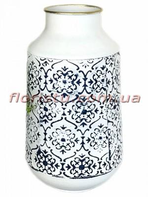 Ваза металлическая Белая с черным орнаментом 31 см