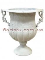Кашпо металлическое Кубок античный Белый 32 см