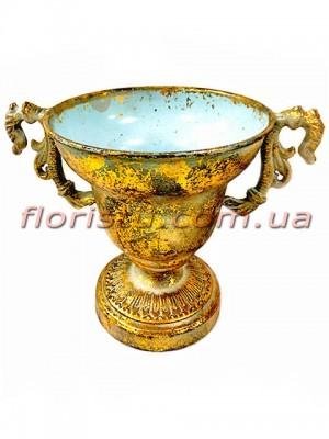 Кашпо металлическое Кубок античный №9 Золото 16 см